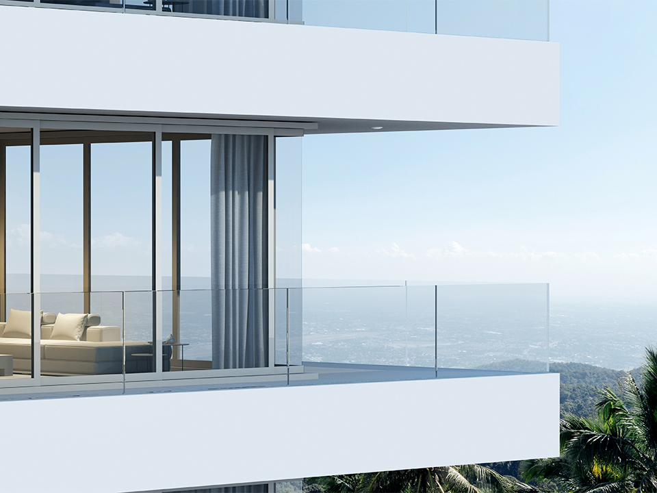 Perspective of high-rise condominium building with mountain and